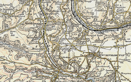 Old map of Whitfield's Tump (Long Barrow) in 1898-1900