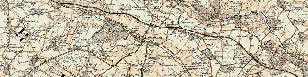 Old map of Amersham Common in 1897-1898