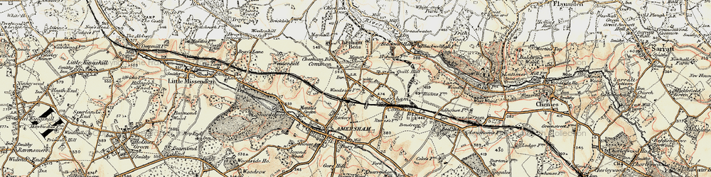 Old map of Amersham on the Hill in 1897-1898