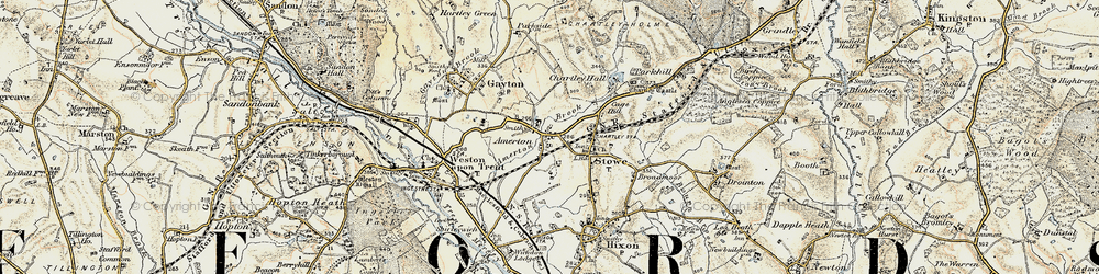 Old map of Amerton in 1902