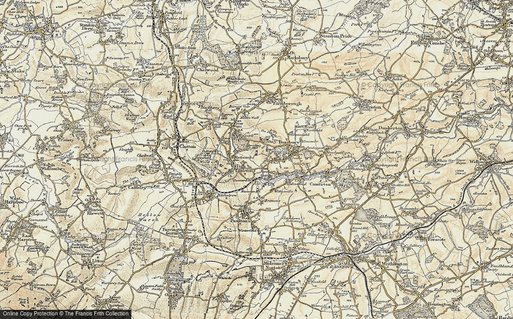 Old Map of Historic Map covering Timsbury Bottom in 1899