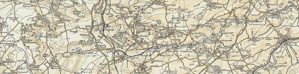 Old map of Timsbury Bottom in 1899