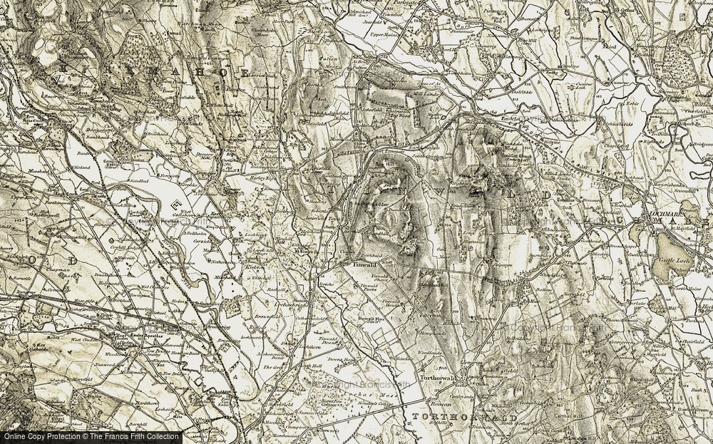 Old Map of Historic Map covering Auchen Ladder in 1901-1905