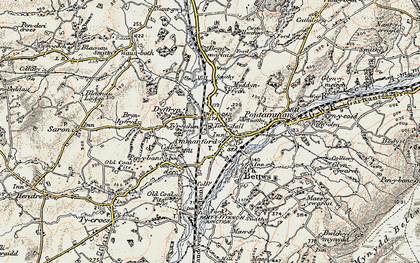 Old map of Ammanford in 1900-1901