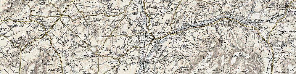 Old map of Ammanford/Rhydaman in 1900-1901