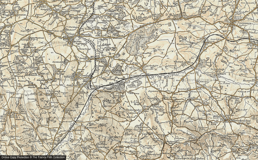 Old Map of Historic Map covering Forde Abbey in 1898-1899