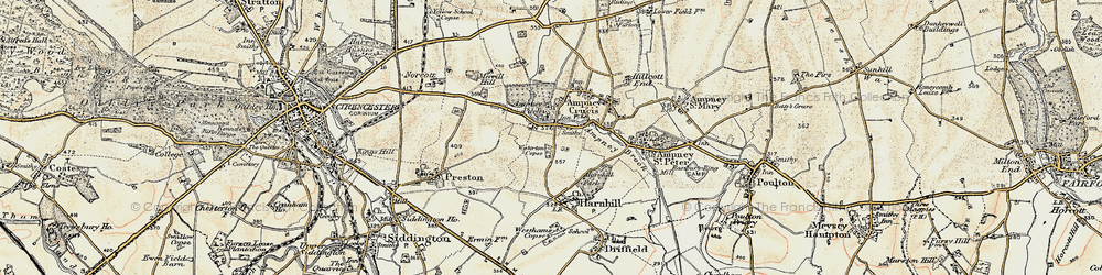 Old map of Ampney Crucis in 1898-1899
