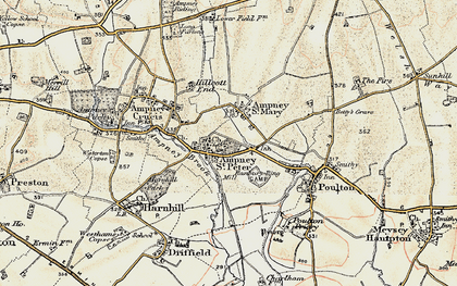 Old map of Ampney St Peter in 1898-1899