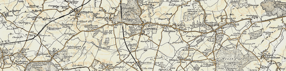 Old map of Ampthill in 1898-1901
