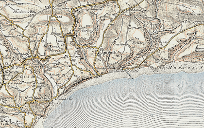 Old map of Amroth in 1901