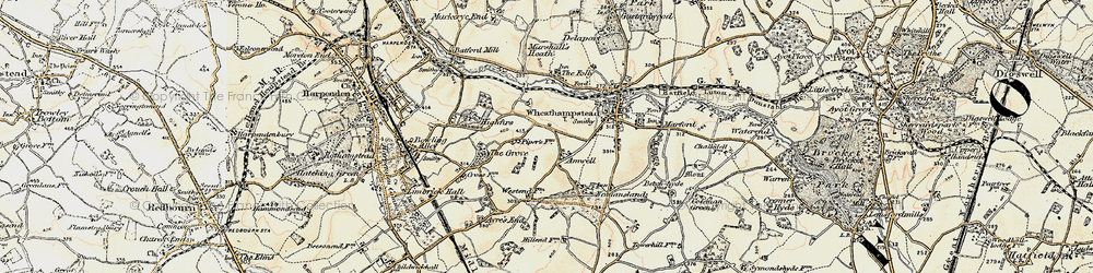 Old map of Amwell in 1898