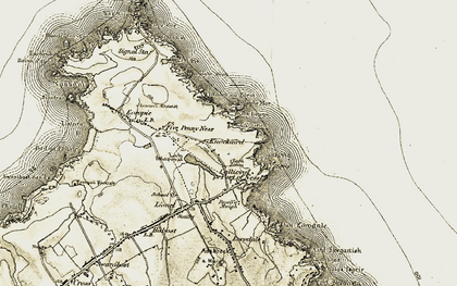 Old map of A' Beirghe in 1911