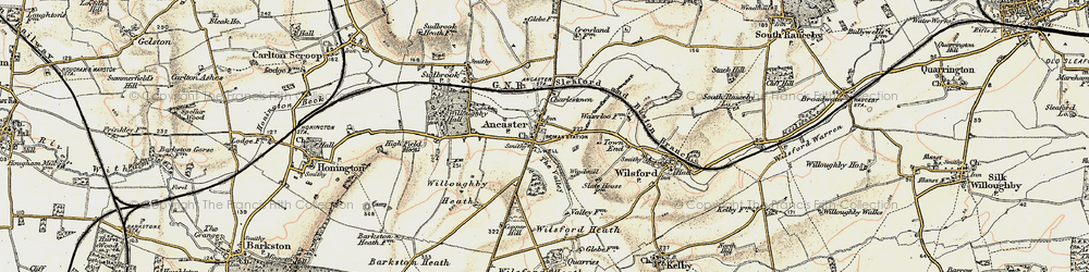 Old map of Ancaster in 1902-1903