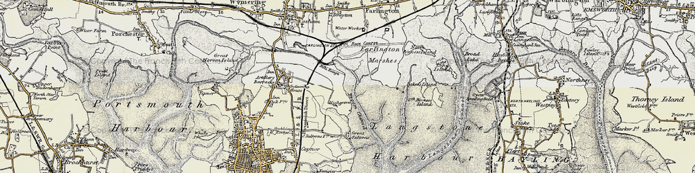 Old map of Langstone Harbour in 1897-1899