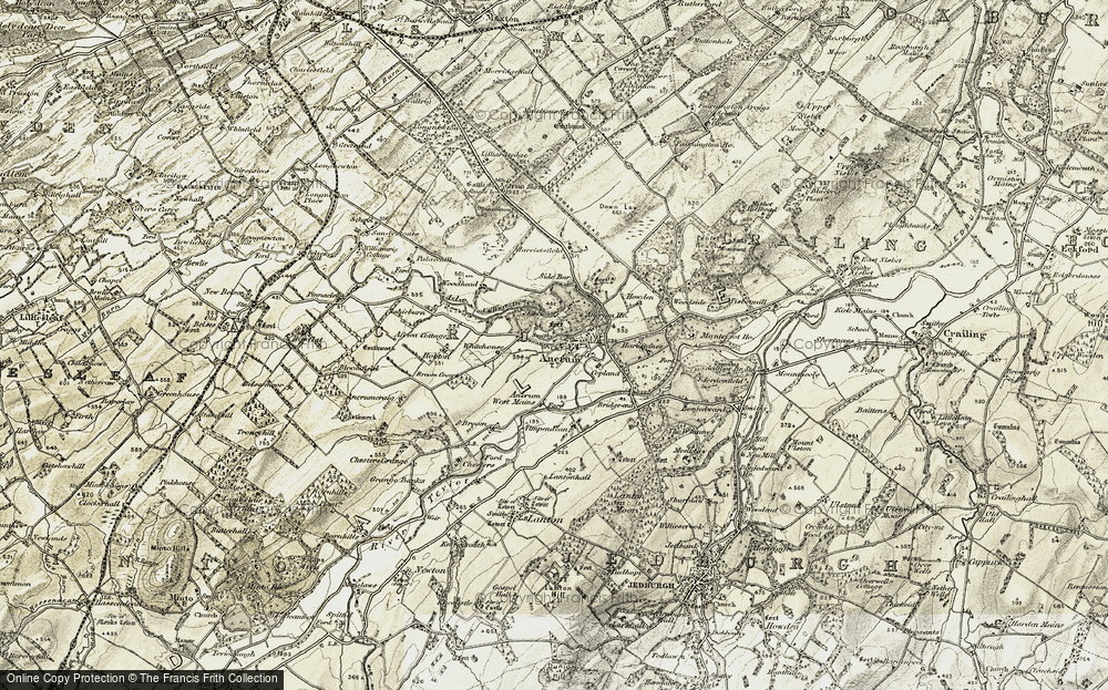 Old Map of Historic Map covering Ashieburn in 1901-1904