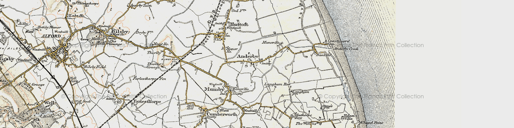 Old map of Anderby in 1902-1903