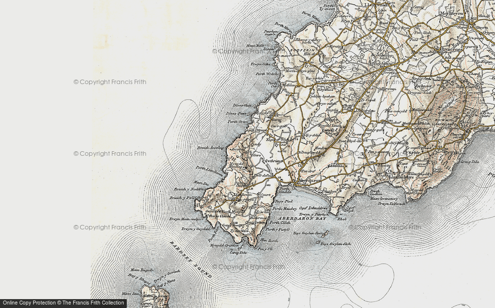 Old Map of Historic Map covering Afon Saint in 1903
