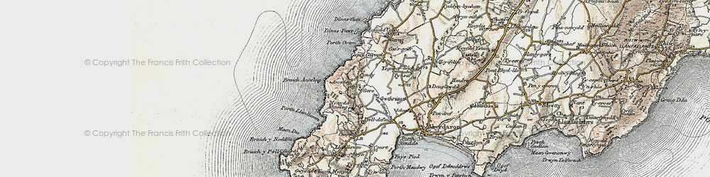 Old map of Afon Saint in 1903