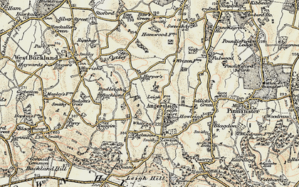 Old map of Angersleigh in 1898-1900