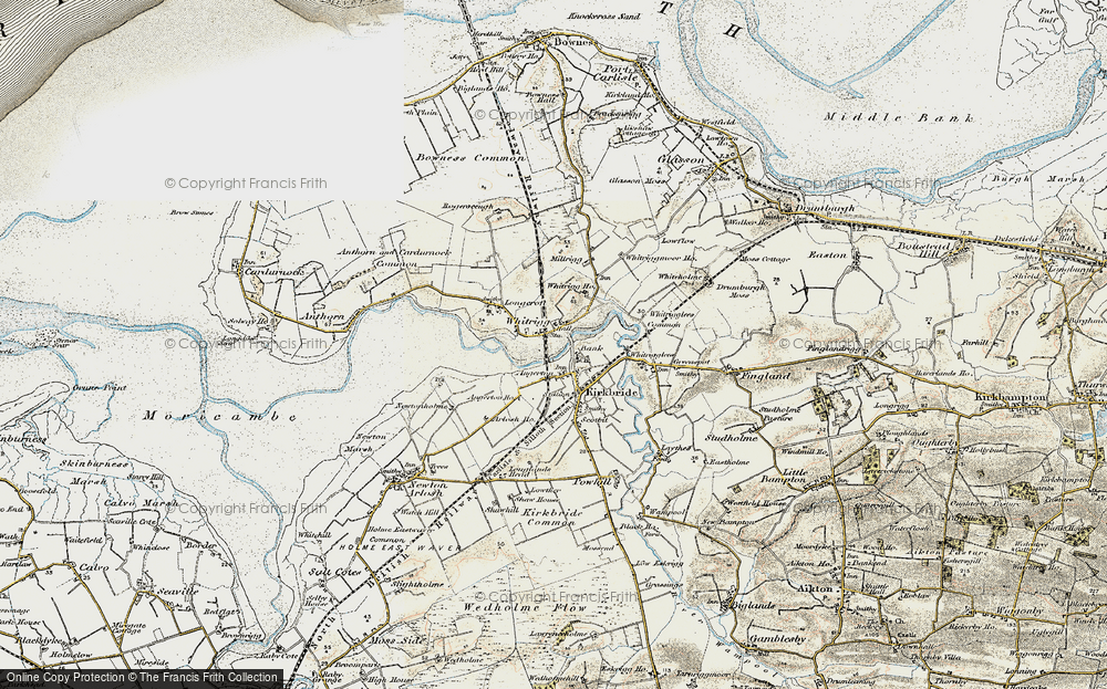 Old Map of Historic Map covering Whitrigg Ho in 1901-1904