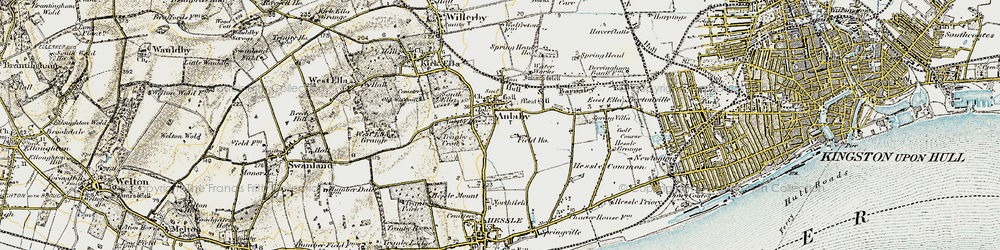 Old map of Anlaby in 1903-1908