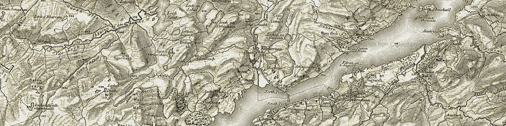 Old map of Achnacarron in 1906-1907