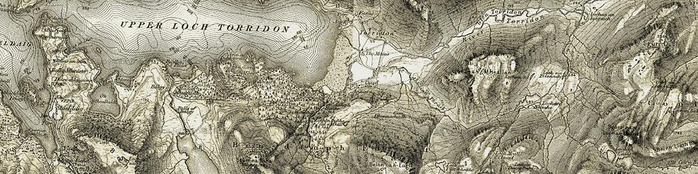 Old map of Abhainn Thràil in 1908-1909