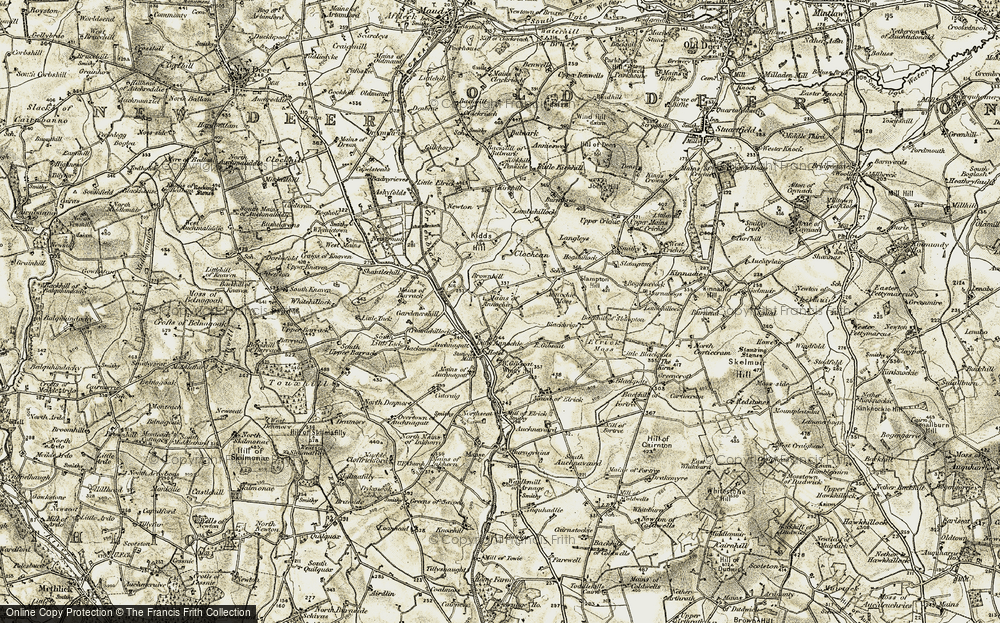 Old Map of Historic Map covering Backmoss in 1909-1910