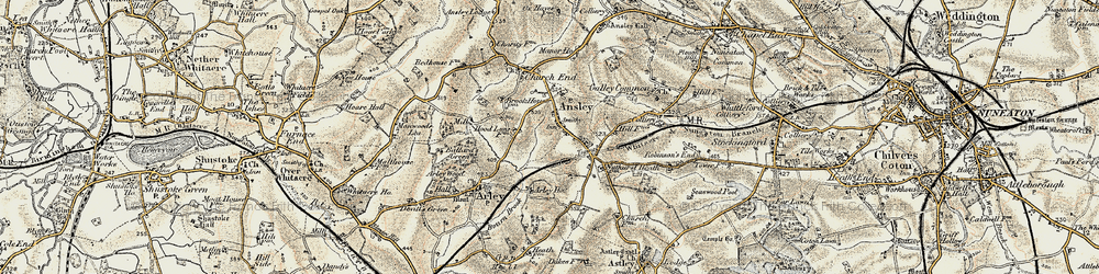 Old map of Ansley in 1901-1902