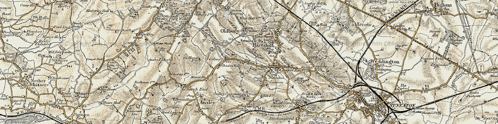 Old map of Ansley Common in 1901-1902