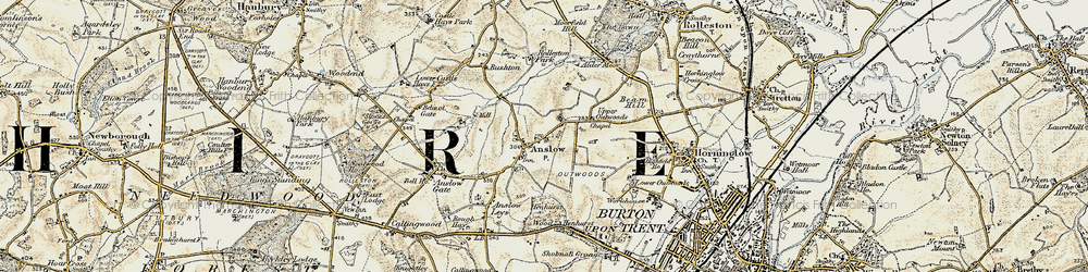 Old map of Anslow in 1902