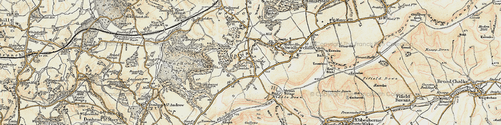Old map of Ansty in 1897-1899
