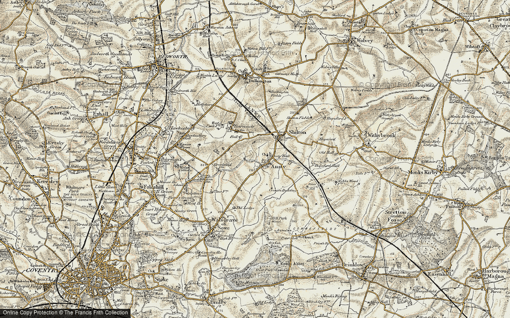 Old Map of Ansty, 1901-1902 in 1901-1902