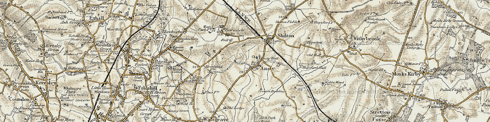 Old map of Ansty in 1901-1902