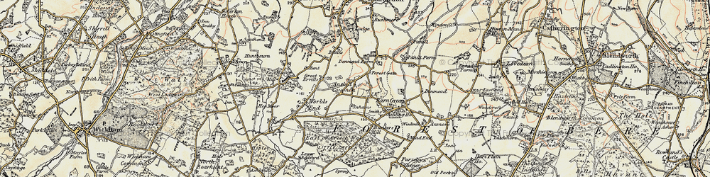 Old map of Anthill Common in 1897-1899