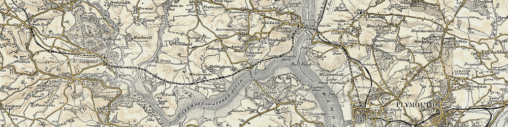 Old map of Antony Passage in 1899-1900