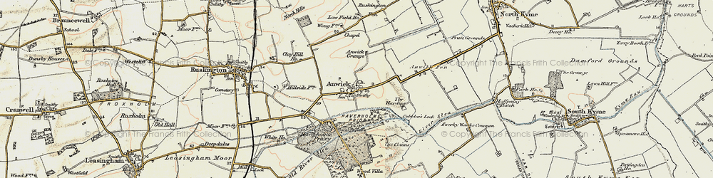 Old map of Anwick in 1902-1903