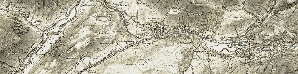 Old map of Tom an Teine in 1906-1908