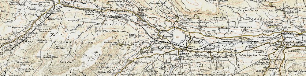Old map of Appersett Pasture in 1903-1904