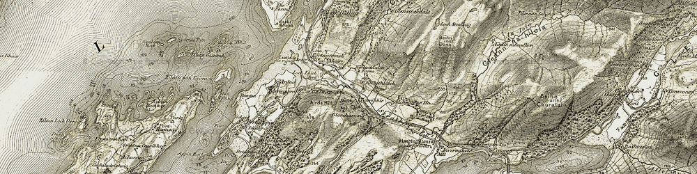 Old map of Airds Hill in 1906-1908