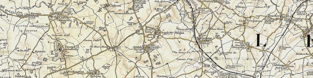 Old map of Appleby Magna in 1902-1903