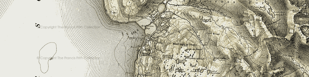 Old map of Applecross Bay in 1908-1909