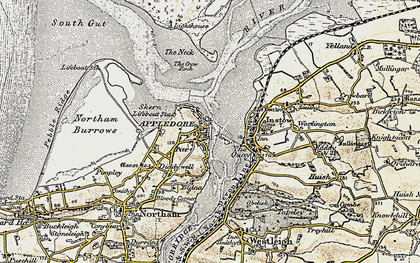 Old map of Appledore in 1900