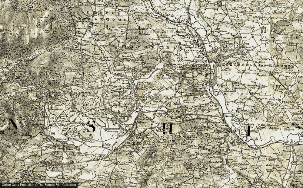 Old Map of Historic Map covering Tom's Forest in 1909-1910