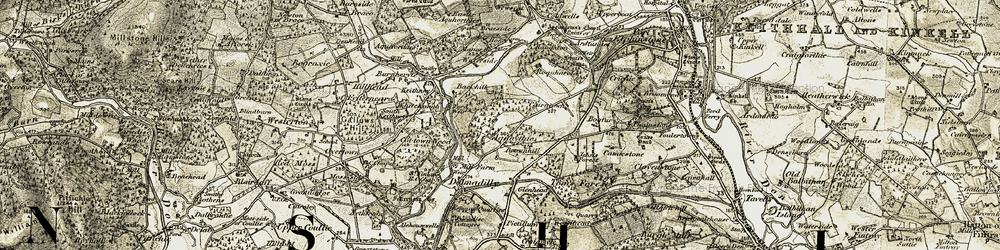 Old map of Whitehaugh in 1909-1910