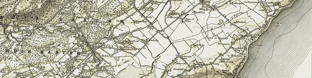 Old map of Ankerville Corner in 1911-1912
