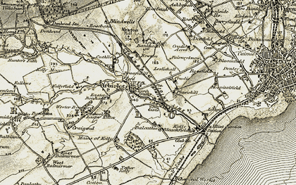 Old map of Arbirlot in 1907-1908