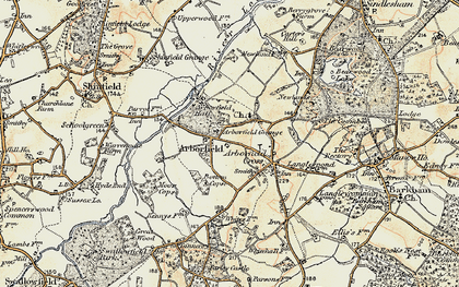 Old map of Arborfield in 1897-1909