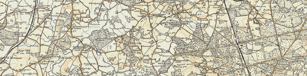 Old map of Arborfield Garrison in 1897-1909
