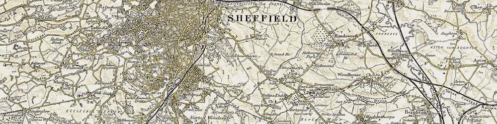 Old map of Arbourthorne in 1902-1903